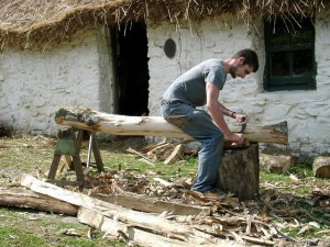 Preparing the green oak supports
